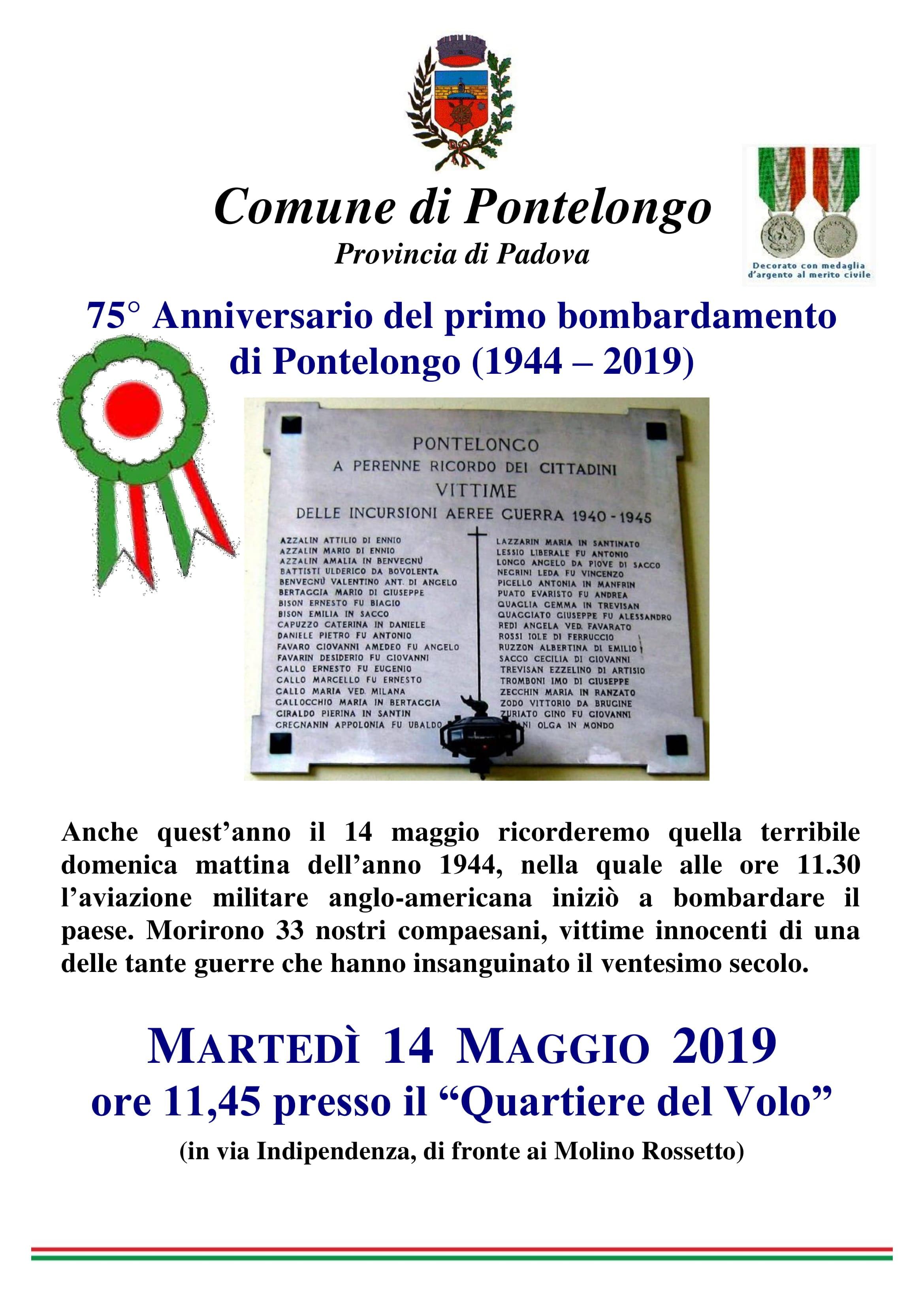 75° Anniversario del primo bombardamento di Pontelongo (1944